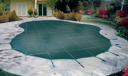 safety pool cover, winter pool cover, vinyl tarpaulin pool cover